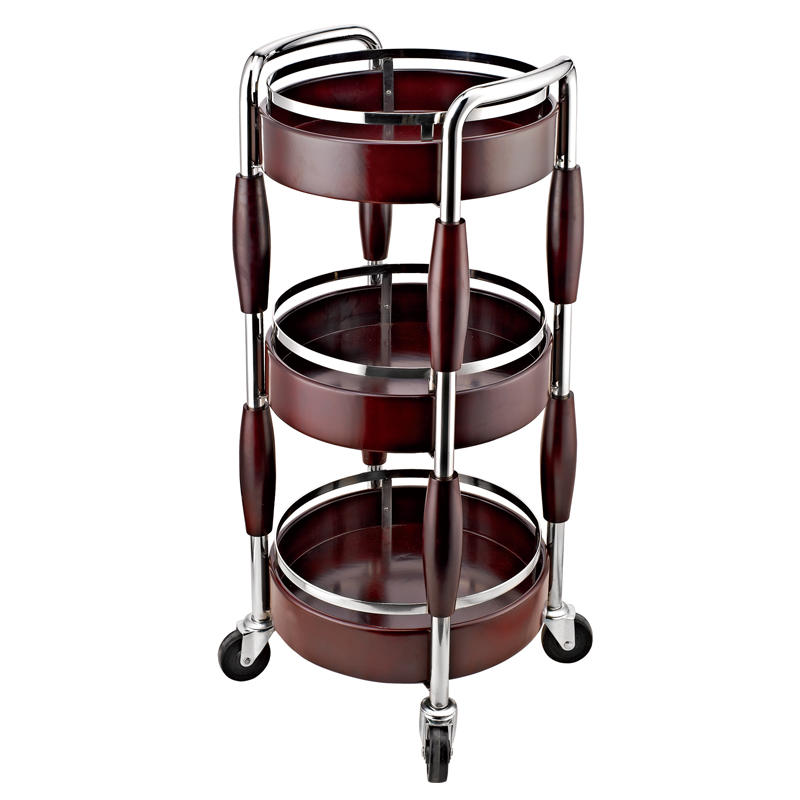 Hotel supply 3 tiers four wheels wooden wine cart trolley
