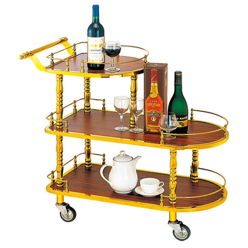 Hotel 3 tier golden titanium wine trolley liquor trolley