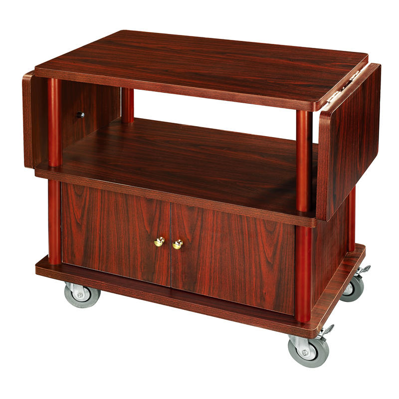 Hotel four wheels wooden wine serving trolley cart liquor trolley