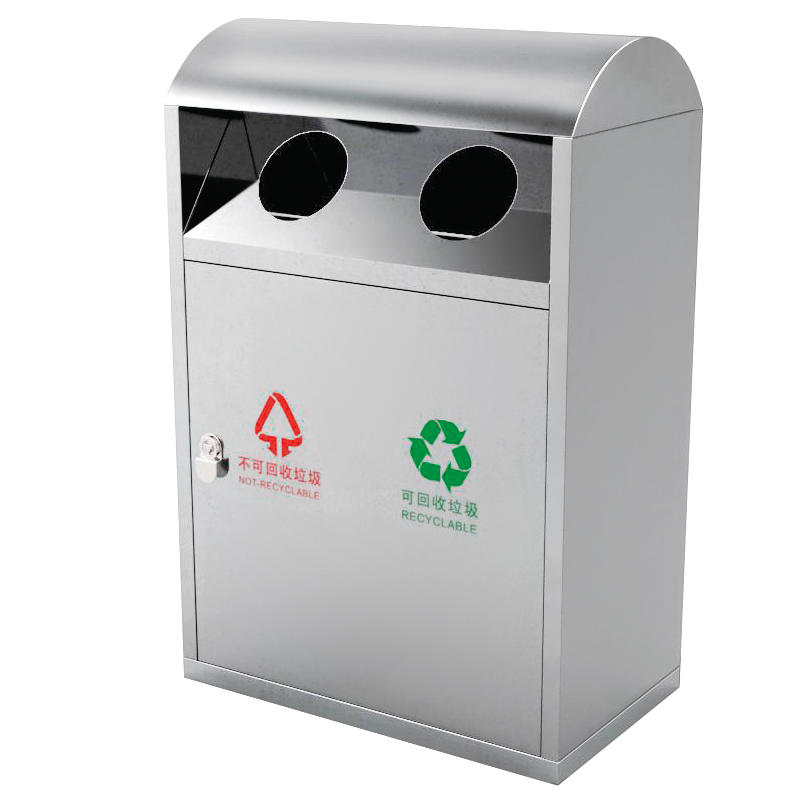 Outdoor recycling stainless steel waste bin garbage trash bin