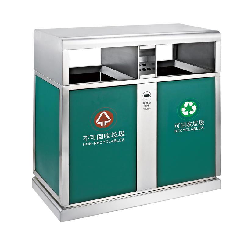 Outdoor battery can double bin garbage bin recycling trash bin