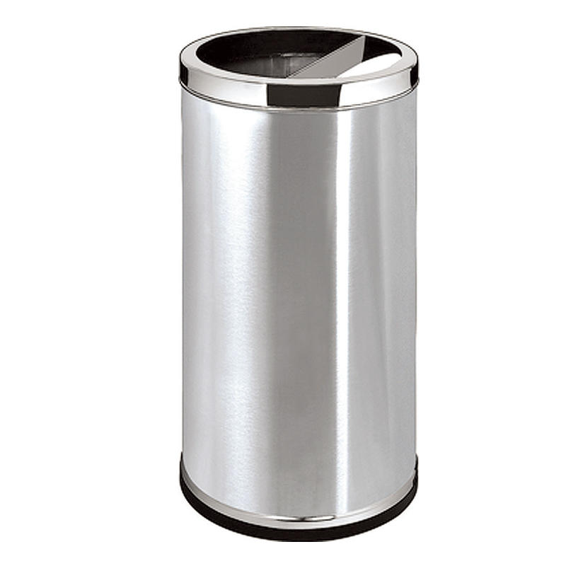 Outside standing round metal ground ash barrel waste bin dustbin