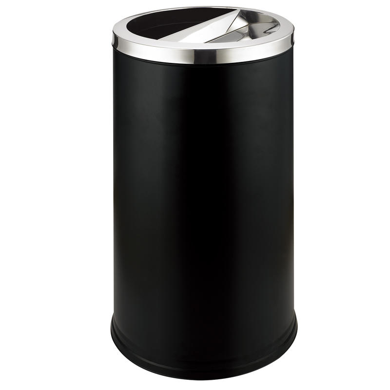 Outside standing round metal ground ash barrel waste bin dustbin