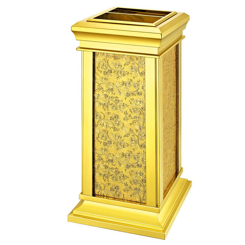 Manufacturer supply golden metal hotel trash bin