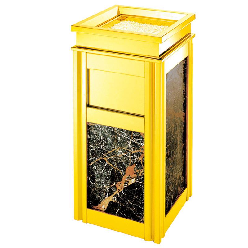 Decorative golden ground ash barrel waste bin trash ashtray bin