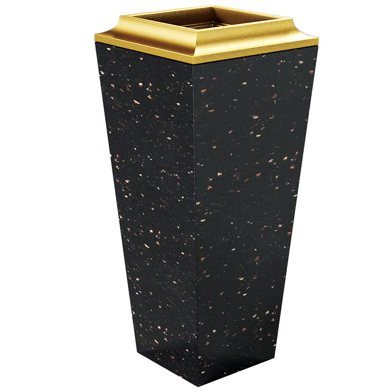 Luxury square marble standing ashtray waste bin trash bin