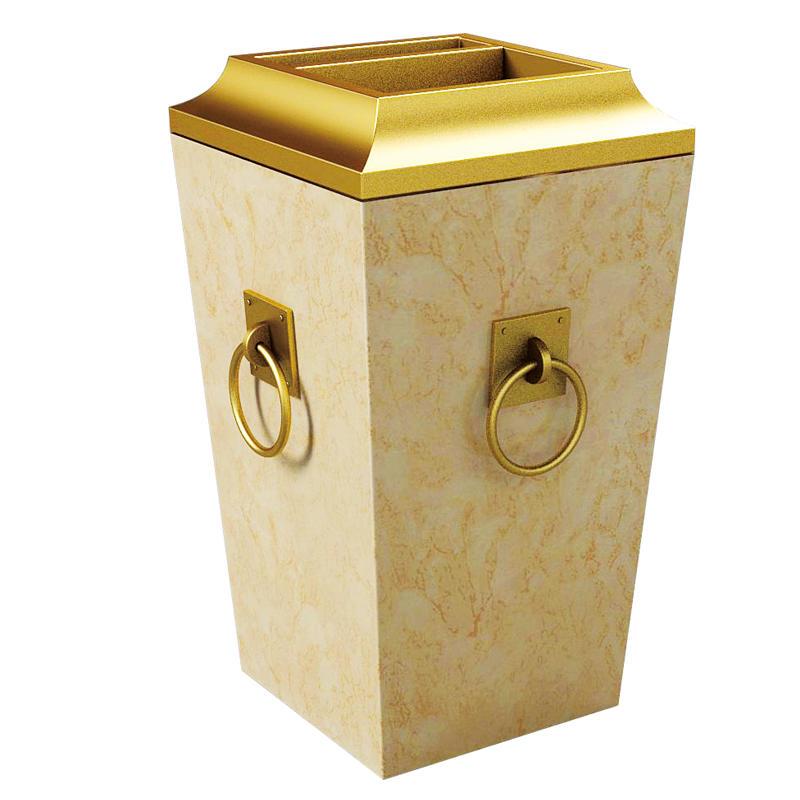 Four golden rings marble standing trash ash tray bin rubbish bin waste bin