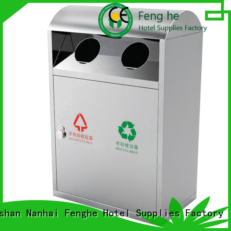 Fenghe hotel outdoor trash can with lid factory for lobby