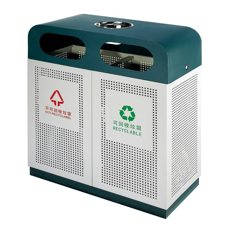 double outdoor trash can manufacturer for lobby-1