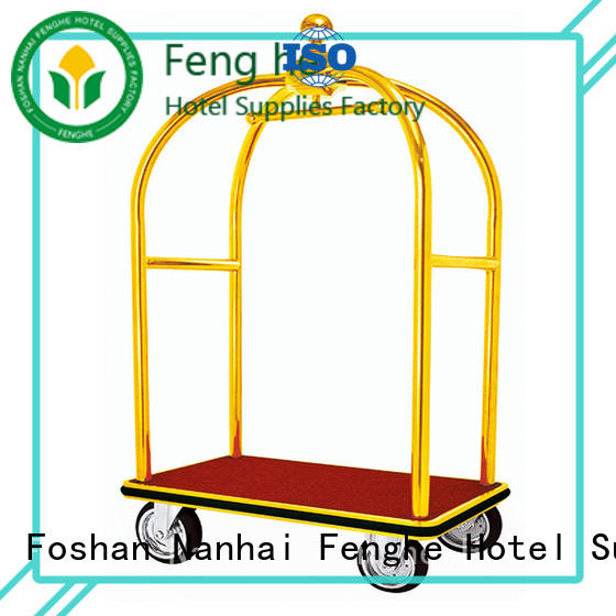 Fenghe golden hotel style luggage cart source now for hotel