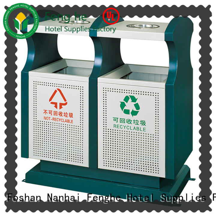 Fenghe double outdoor trash can manufacturer for hotel
