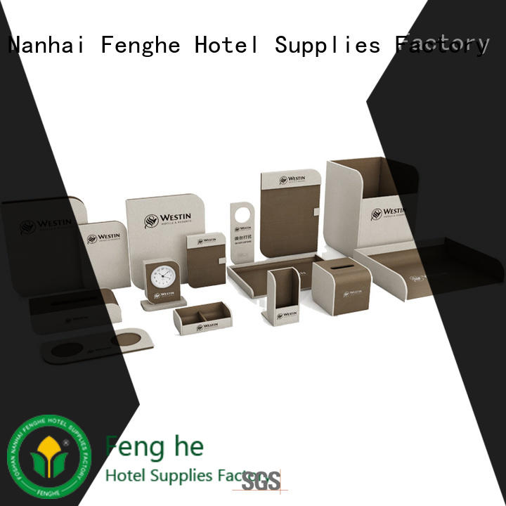 hotel leather products logo for wholesale Fenghe