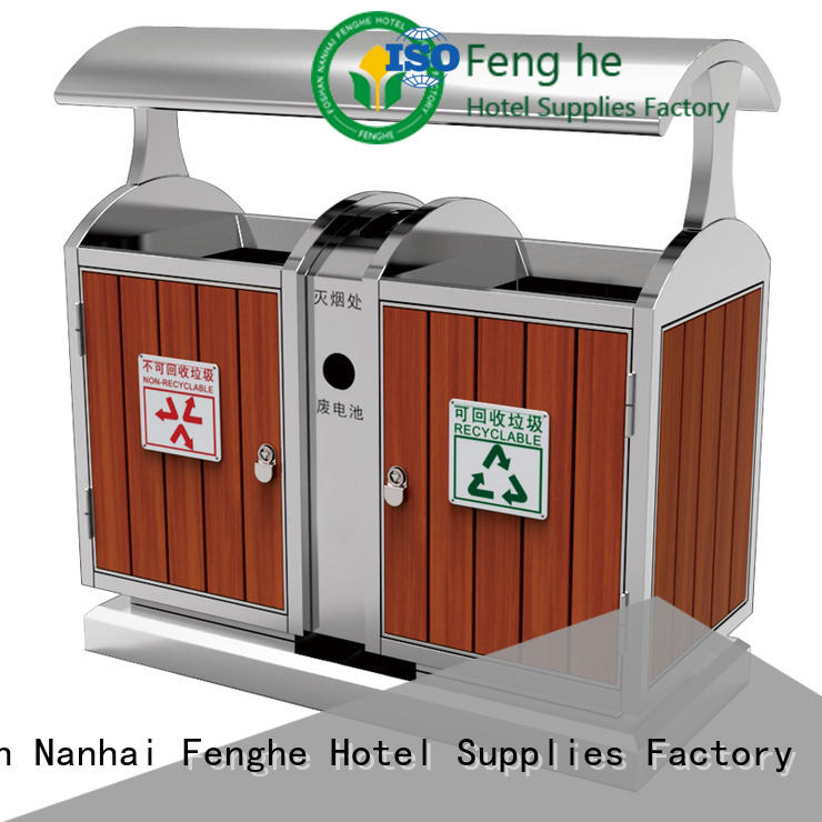 Fenghe stainless outdoor garbage can storage chinese manufacturer for public house